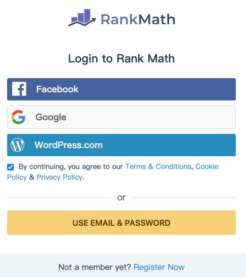 Rank Math 設定精靈-可以使用 Facebook Google WordPress 或 Email 創建登入Rank math帳號