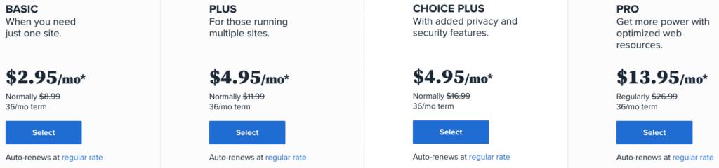 Bluehost 價格方案
